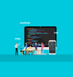 programming website frontend developepr working vector image