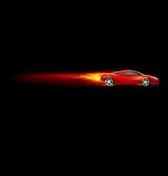 Red sport car burnout design on black vector