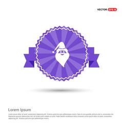 santa claus icon - purple ribbon banner vector image