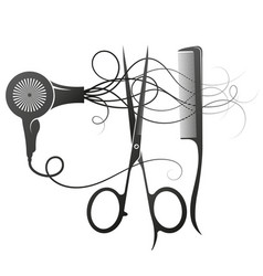 Scissors comb and hairdryer symbol for master vector