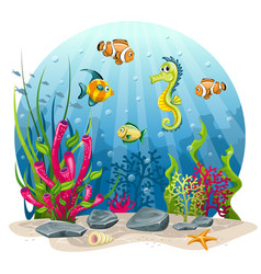 Seahorse and fish in the sea vector
