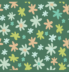 seamless botanic pattern with daisy flowers in vector image