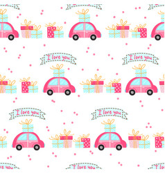 Seamless pattern for valentines day with cute cars vector