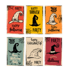 set flyers template halloween party witch vector image