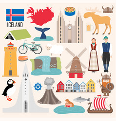 Set iceland symbols in flat style vector