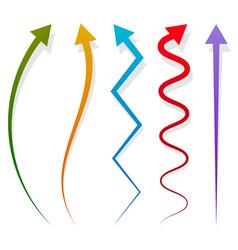 Set of 5 different long vertical arrow elements vector