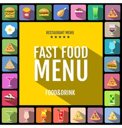 Set of flat style food and drinks icons design vector