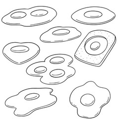 set of fried egg vector image