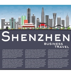 Shenzhen Skyline with Gray Buildings vector