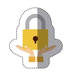 silhouette monochrome with closed padlock vector image vector image