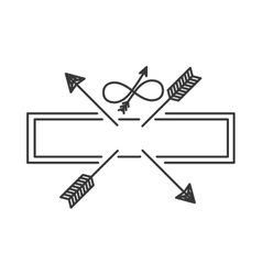Silhouette with crossed arrows on rectangle vector
