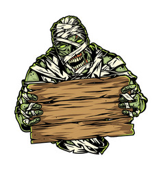 Spooky mummy holding blank wooden board vector