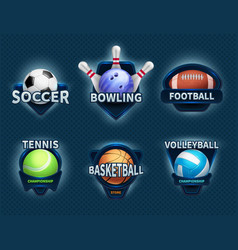 sports balls labels and sport team emblems vector image