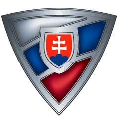 steel shield with flag slovak republic vector image