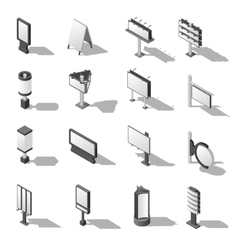 Street Advertising Isometric Icons Set vector
