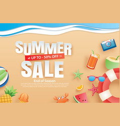 summer sale with decoration origami on beach vector image