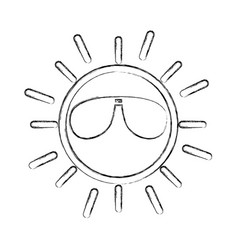 Sun with sunglasses character vector