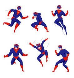 Superhero action poses set vector