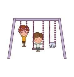 Swings playground design vector