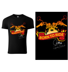 T-shirt design with motorcycle and burning banner vector