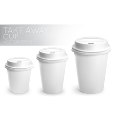 Take away paper cup white vector image