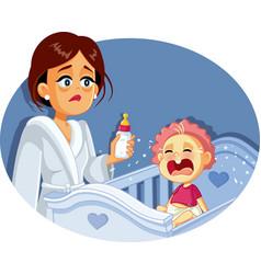 tired mother holding milk bottle night feeding vector image
