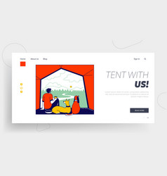 Tourist travel with home animals landing page vector