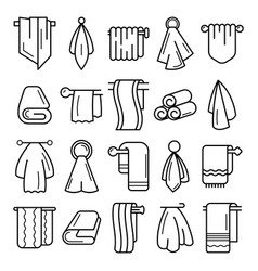 Towel icon set outline style vector