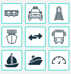 Transport icons set collection of travel boat vector