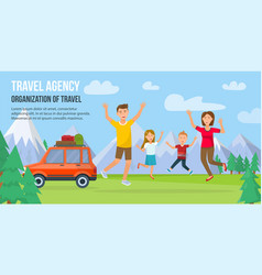 Traveling family on vacation vector