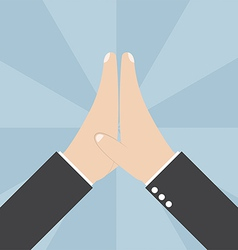 Two Businessmen hands giving a high five vector image
