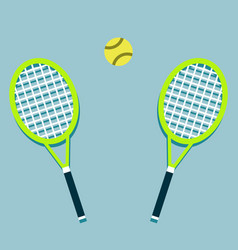 two tennis rackets and a ball vector image
