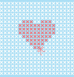 Valentines card with embroider heart vector