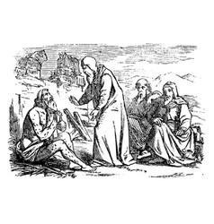 vintage drawing biblical story job old sick vector image