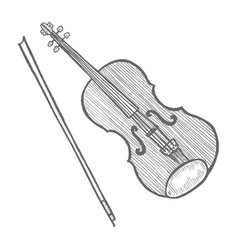 violin in hand-drawn style vector image