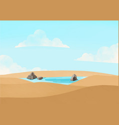 Wheat field landscape pool with cloud sky vector