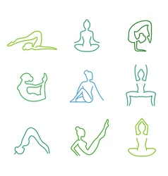 Yoga poses silhouettes set for woman health vector image