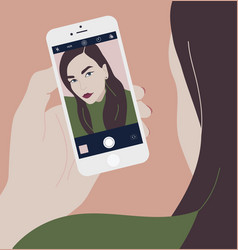 Young brunette woman holding smartphone and making vector