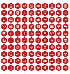 100 data exchange icons hexagon red vector