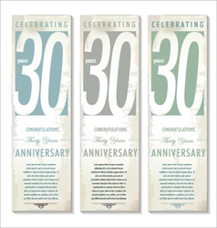 30 years Anniversary retro banner set vector image