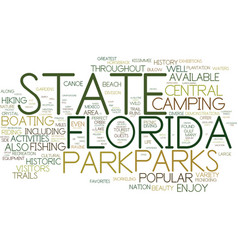Florida state parks text background word cloud vector