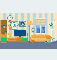 living room with furniture cozy interior with vector image