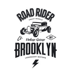 Vintage hot rod logo vector