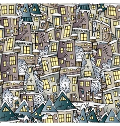 Cartoon fairy tale winter houses pattern vector image vector image