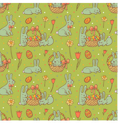 cute easter seamless pattern vector image vector image