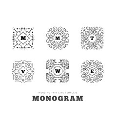 monogram series with letters on white background vector image