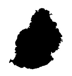 Black silhouette country borders map of mauritius vector