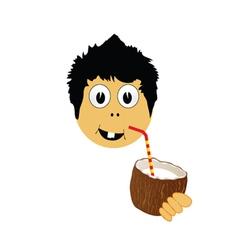 boy drink coconut milk vector image vector image