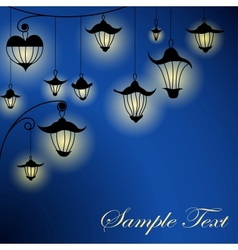 Night background with lanterns vector image vector image