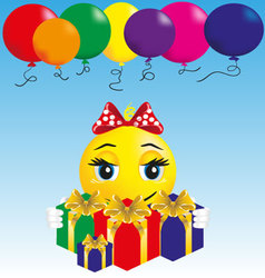 smiley girl with gifts vector image vector image